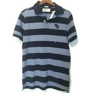 A&F - Polo NWT : Striped, LG logo moose, sz..Small